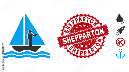 Vector aboard yacht icon and corroded round stamp seal with Shepparton phrase Canvas Print