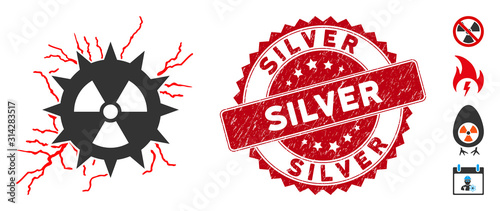 Fotografija Vector atomic power sparks icon and grunge round stamp seal with Silver caption