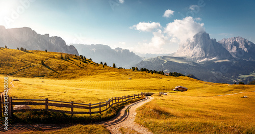 Wall mural - Dolomites, Italy Landscape at Passo Gardena with majestic Sella mountain group in northwestern Dolomites. Famous travel destination for adventure, trekking, hiking and outdoor activity.