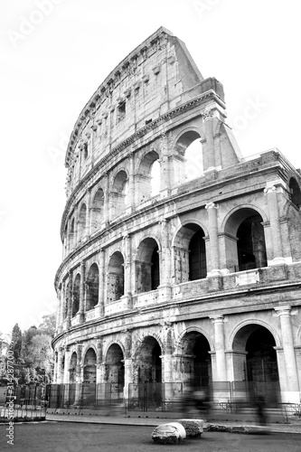 black and white photos of the ancient Colosseum of Rome Wallpaper Mural