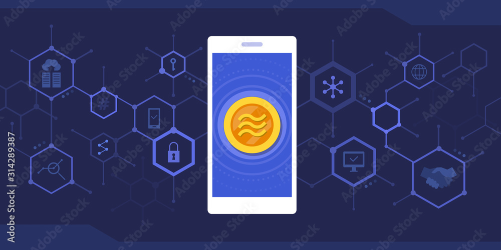 Fototapeta Smartphone with libra coin and cryptocurrency background
