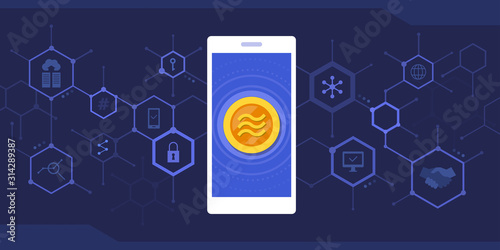Obraz Smartphone with libra coin and cryptocurrency background - fototapety do salonu
