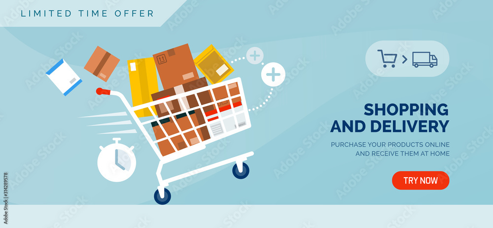 Fototapeta Shopping and delivery promotional sale banner with shopping cart