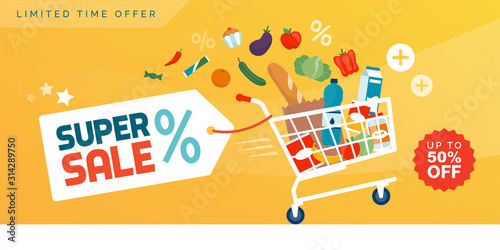 Fototapeta Grocery shopping promotional sale advertisement obraz