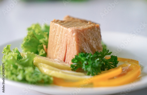 Tuna chunk on white plate. Wallpaper Mural