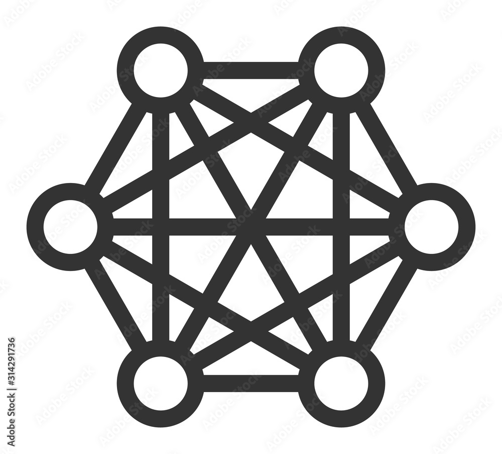 Fototapeta Network connections vector icon. Flat Network connections symbol is isolated on a white background.