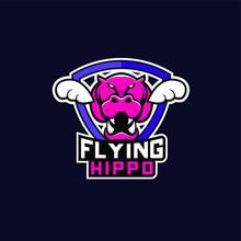 Flying Hippo Sport Logo Icon Design