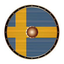 Round Viking Shield With Swede...
