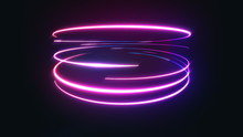 Abstract Neon Light Streaks Background/ 4k Animation Of An Abstract Background With Shining Neon Light Strokes Following Circular Ring Motion Path