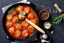 Fried Fish Balls In Spicy Tomato Sauce