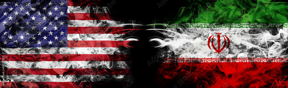 Fototapeta American flag and Iranian flag in smoke shape on black background. Concept of world conflict and war. America VS Iran metaphor. Winds of war.
