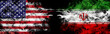 American flag and Iranian flag in smoke shape on black background. Concept of world conflict and war. America VS Iran metaphor. Winds of war.