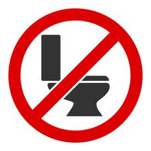 No Toilet Bowl Vector Icon. Fl...