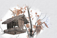 Abstract Architecture Sketch Style Image Of Wooden Bird House On The Tree At Winter Time