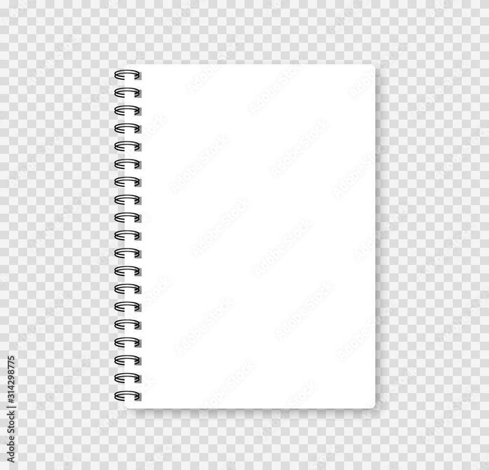 Fototapeta Realistic notebook mock up for your image. Vector illustration.