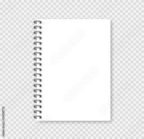 Photo Realistic notebook mock up for your image. Vector illustration.