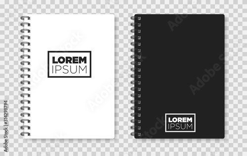 Realistic notebook mock up for your image. Vector illustration. Tablou Canvas