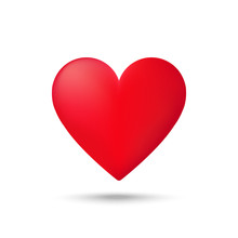 Red Heart Icon On White Backgr...
