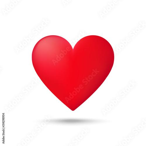 Fototapeta Red heart icon on white background. Love logo heart illustration. obraz