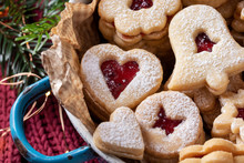Closeup Of Traditional Linzer Christmas Cookies