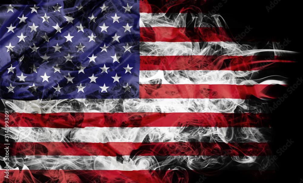 Fototapeta Smoke shape of national flag of United States of America isolated on black background.
