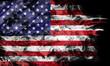 Smoke shape of national flag of United States of America isolated on black background.
