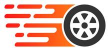 Rush Car Wheel Vector Icon. Fl...