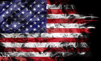 Smoke shape of national flag of United States of America isolated on black background.