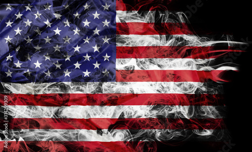 Slika na platnu Smoke shape of national flag of United States of America isolated on black background