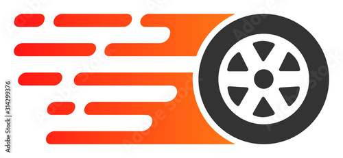 Obraz Rush car wheel vector icon. Flat Rush car wheel symbol is isolated on a white background. - fototapety do salonu