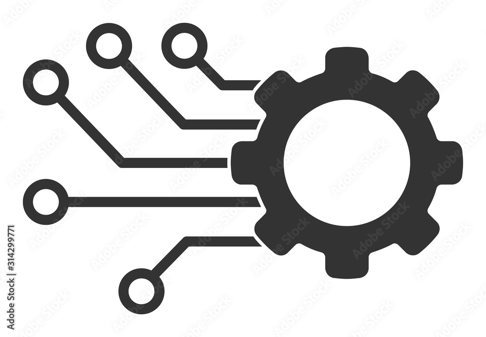 Fototapeta Smart gear vector icon. Flat Smart gear pictogram is isolated on a white background.