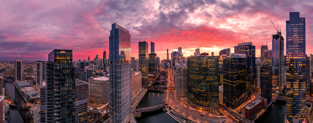 Fototapeta Chicago aerial view, river from a drone panorama
