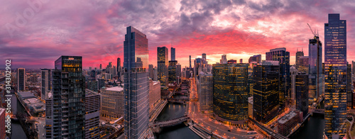 Fototapeta Chicago aerial view, river from a drone panorama obraz