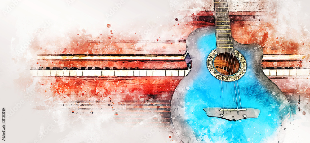 Fototapeta Abstract colorful guitar and piano keyboard on watercolor illustration painting background.