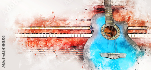Fotografija Abstract colorful guitar and piano keyboard on watercolor illustration painting background