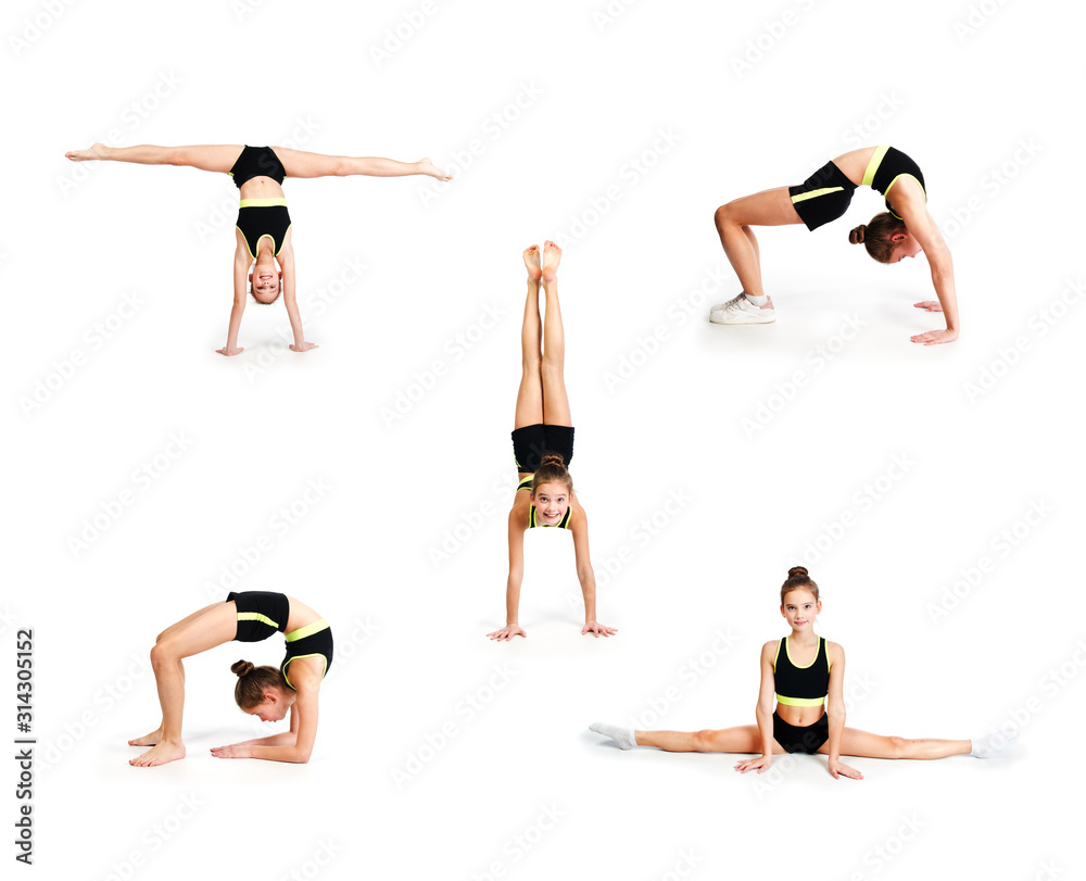 Fototapeta Collection of photos flexible cute little girl child gymnast doing acrobatic exercise isolated
