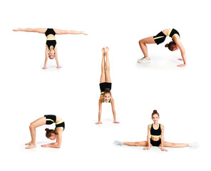 Collection of photos flexible cute little girl child gymnast doing acrobatic exercise isolated
