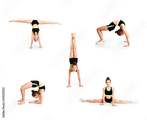 Obraz Collection of photos flexible cute little girl child gymnast doing acrobatic exercise isolated - fototapety do salonu