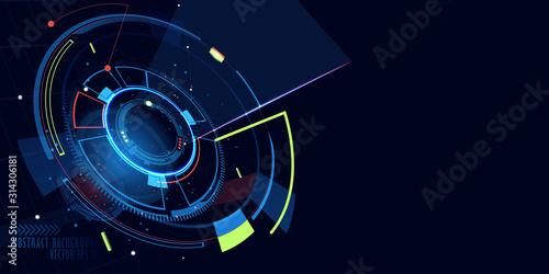 Fototapeta Abstract futuristic illustration on dark blue color background. obraz na płótnie