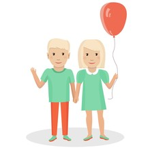 Little Boy And Girl. Twins. Vector Illustration