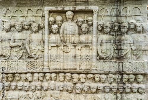 Detail of the pedestal of Obelisk of Theodosius in Istanbul, Turkey Fotobehang