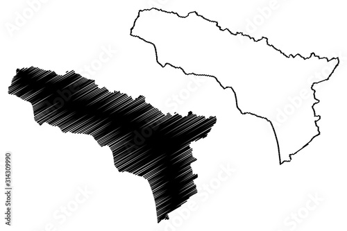 Abkhazia (Republic of Georgia - country, Administrative divisions of Georgia) map vector illustration, scribble sketch Government of the Autonomous Republic of Abkhazia map Canvas Print
