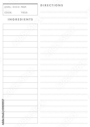 Printable A4 Recipe Card Template (Live Stroke Path) Fototapeta