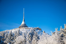 Winter View Of Mountain Top Hotel And Television Transmitter Jested In Liberec, Czech Republic