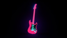 Neon Electric Guitar Isolated,...
