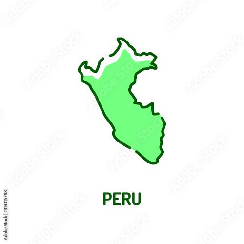 Peru map color line icon Wallpaper Mural