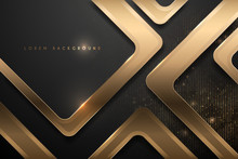 Abstract Black And Gold Geomet...
