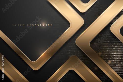 Obraz Abstract black and gold geometric background - fototapety do salonu