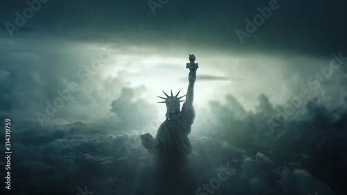 Tablou Canvas Freiheitsstatue im Himmel
