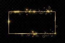 Golden Frame With Lights Effe...